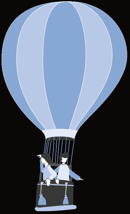 grafik von zwei weiblichen person die im heißluftballon fliegt und in die ferne schaut